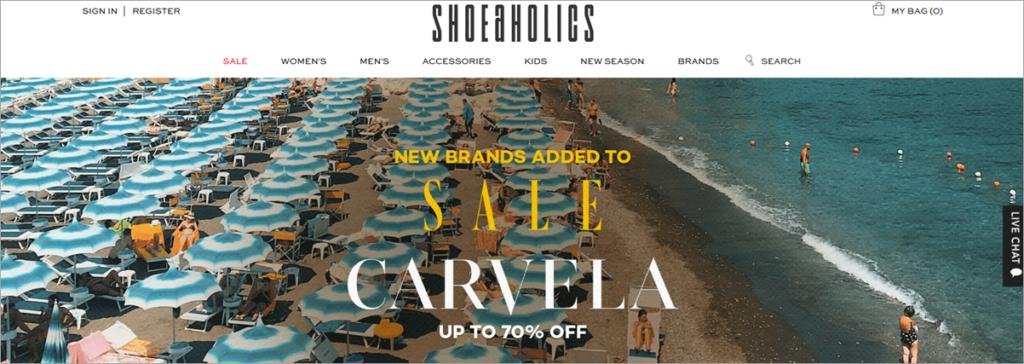 Shoeaholic Homepage Screenshot