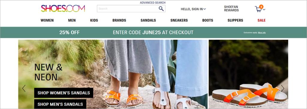 Shoes.com Homepage Screenshot