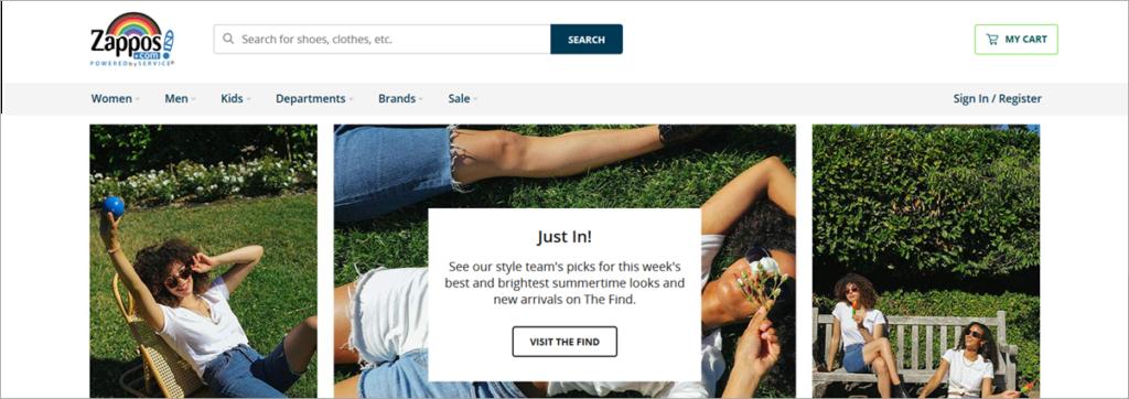 Zappos Homepage Screenshots