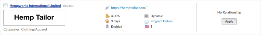 Hemp Tailor Affiliate Program Stats
