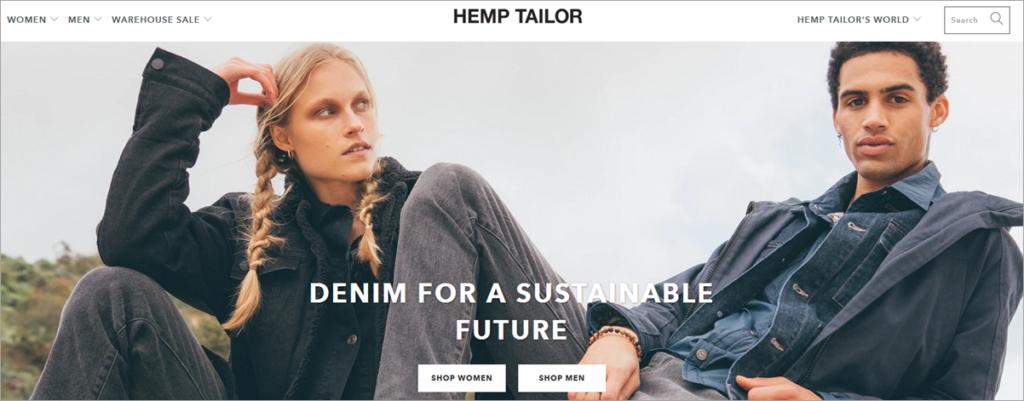 Hemp Tailor Homepage Screenshot