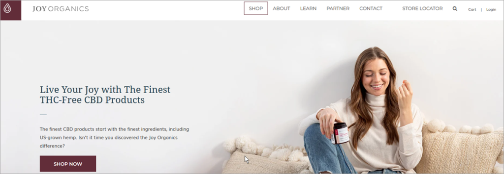Joy Organics Homepage Screenshot