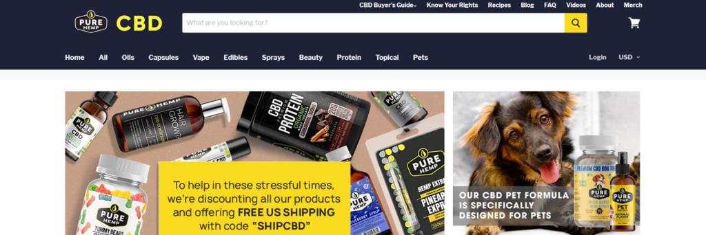Pure Hemp Homepage Screenshot