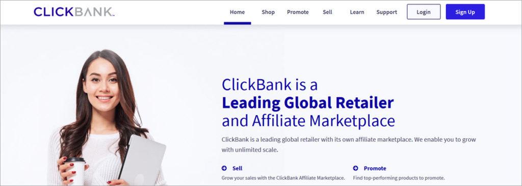Clickbank Homepage Screesnshoot
