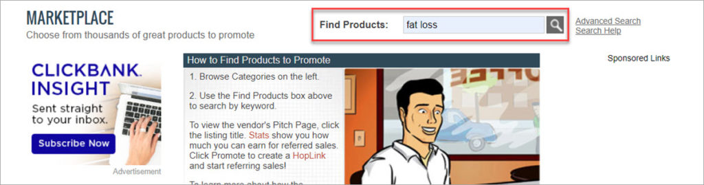 Clickbank Marketplace Search