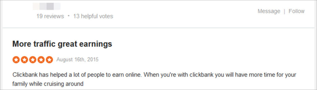 Clickbank Positive Review