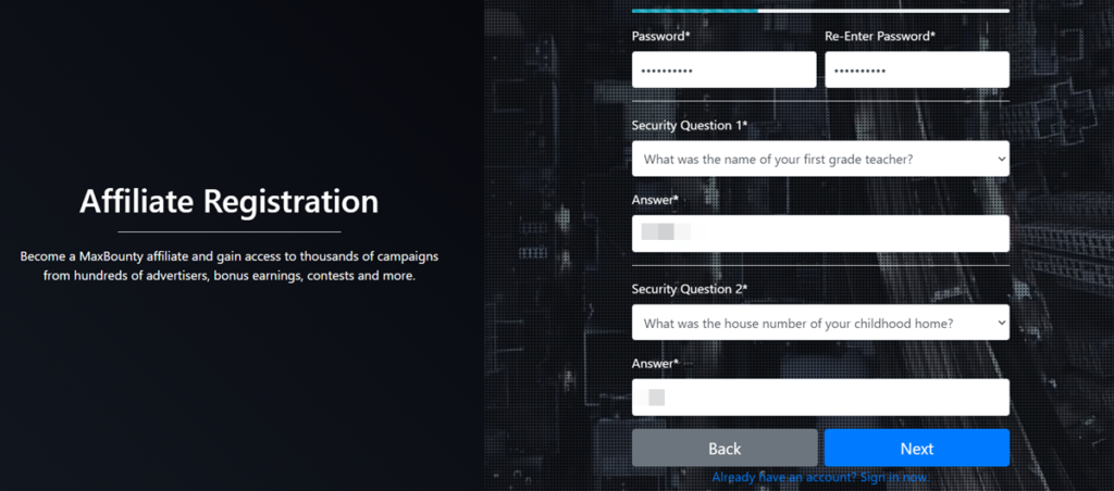 Mabounty Affiliate Registration Security Questions