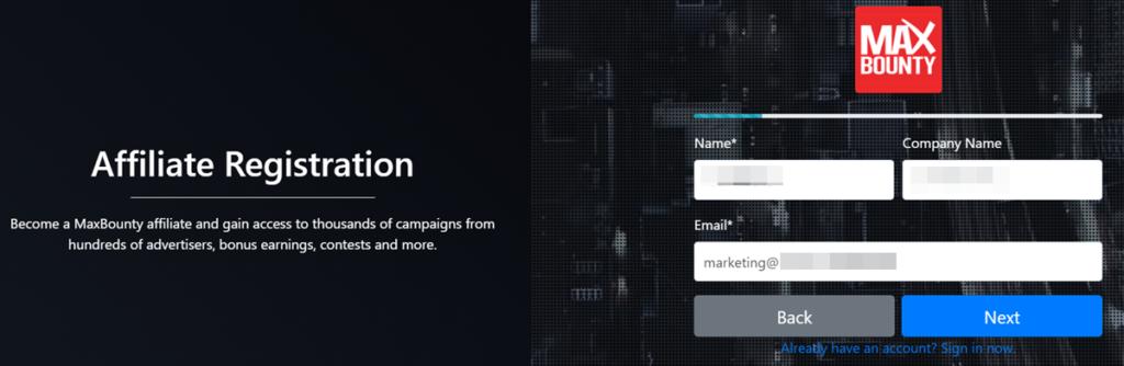 Maxbounty Affiliate Registration Account