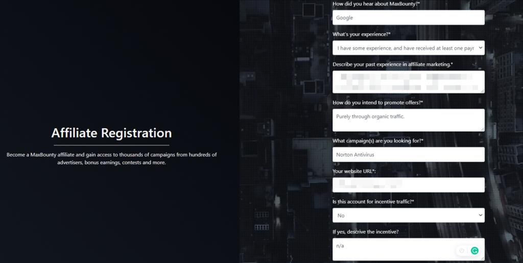Maxbounty Affiliate Registration Details