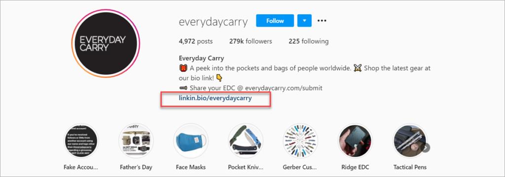 Everydaycarry Instagram Page Bio Link