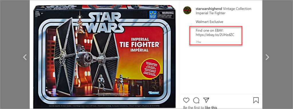 Star Wars Instagram Post With Affiliate Link