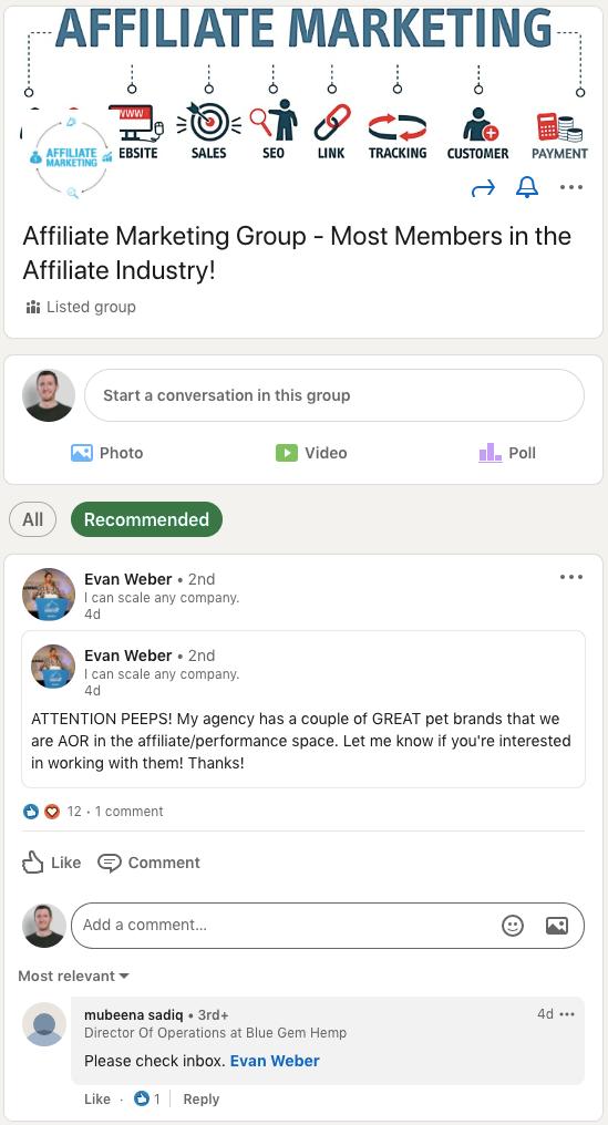 Affiliate Marketing Group On Linkedin