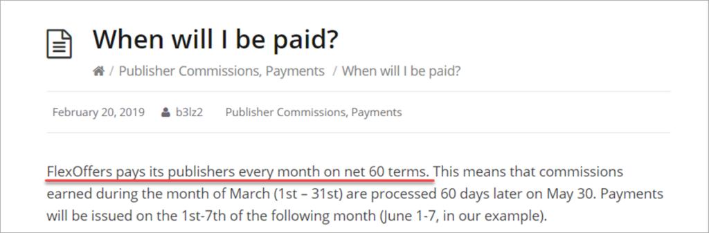 Flexoffers Affiliate Payment