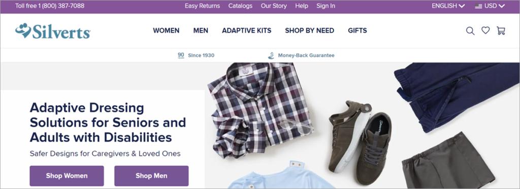 Silvers Adaptive Clothing Homepage