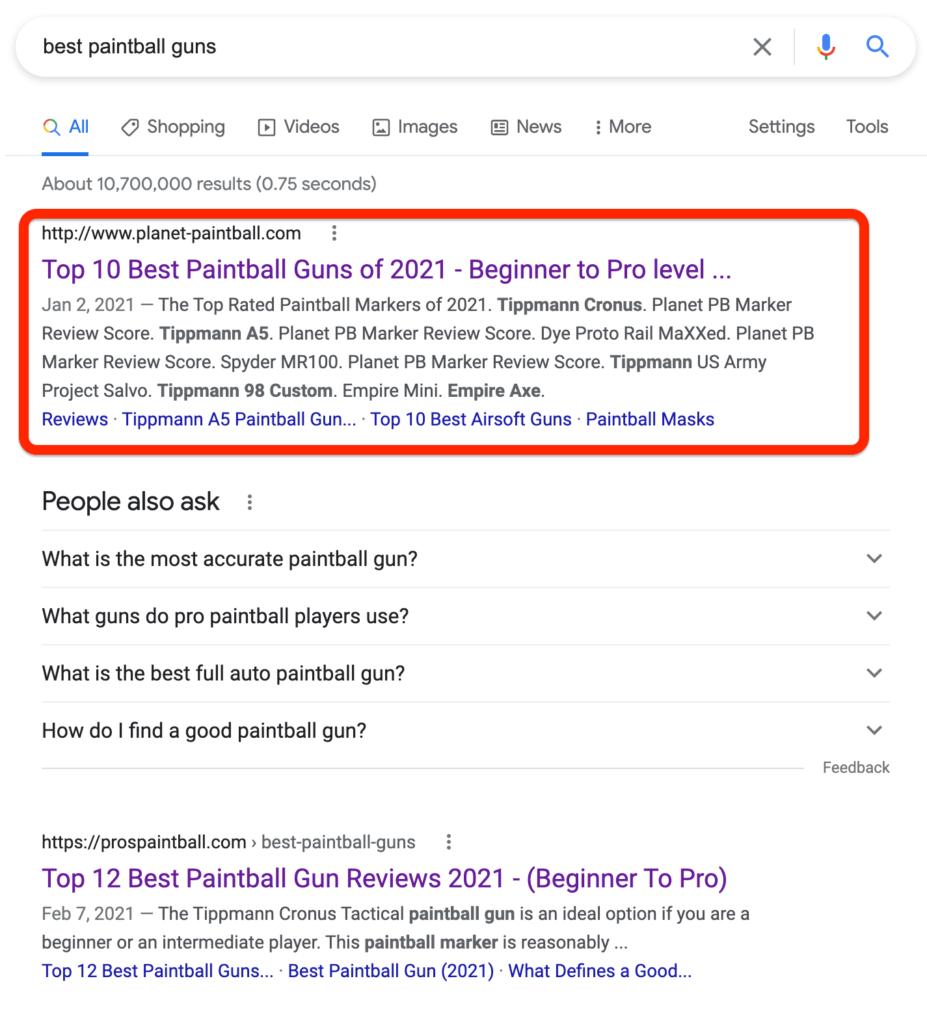 Best Paintball Guns Search