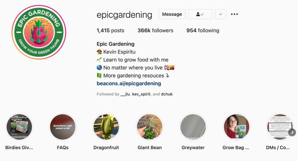 Epic Gardening Instagram