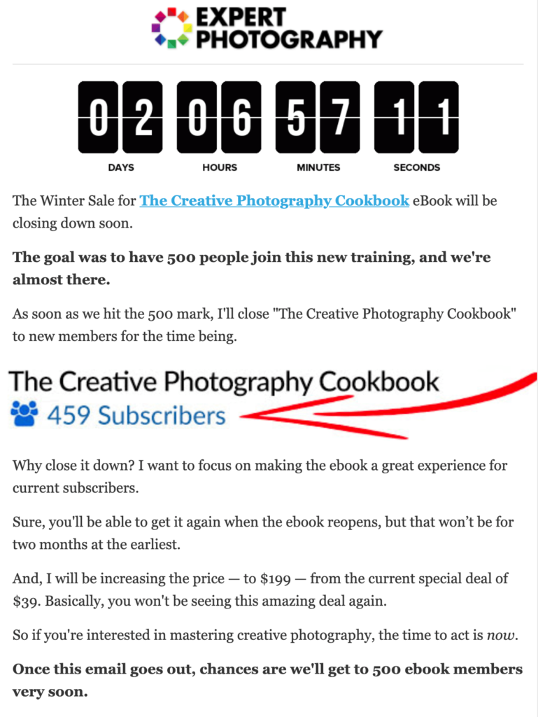 Expert Photography Promo Email