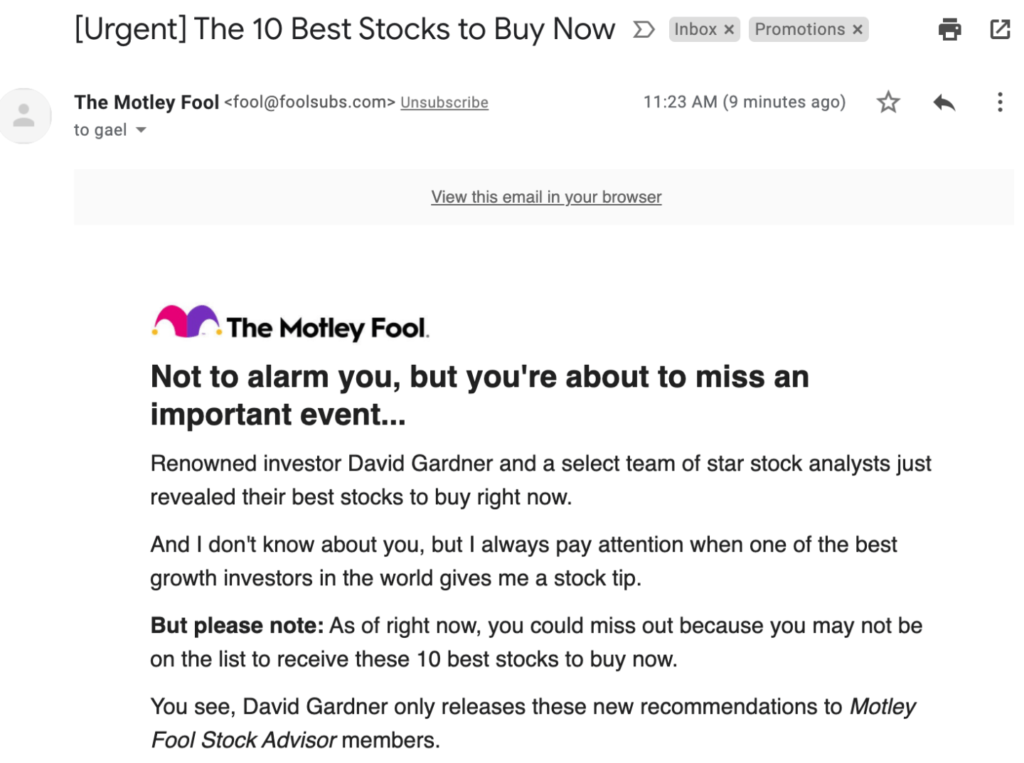 Fool.com Email Cta