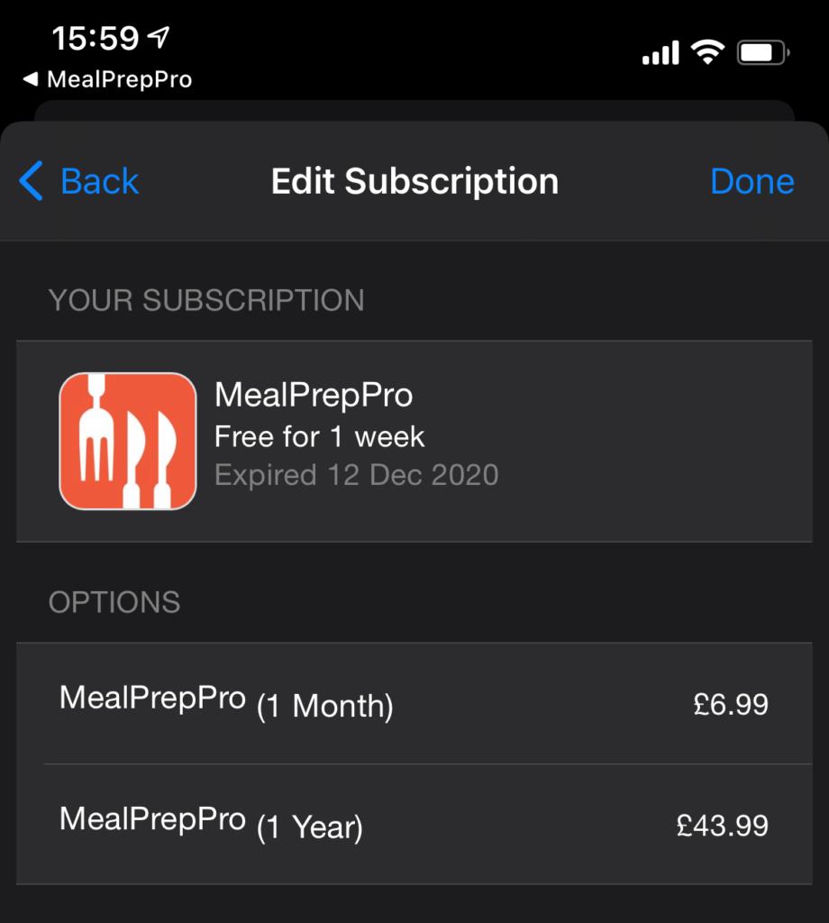 Mealpreppro App Subscription