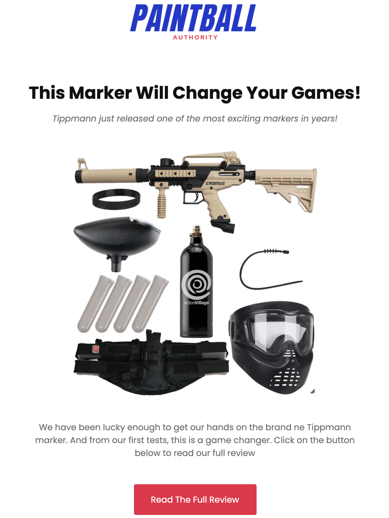 Paintball Authority Promotion Email