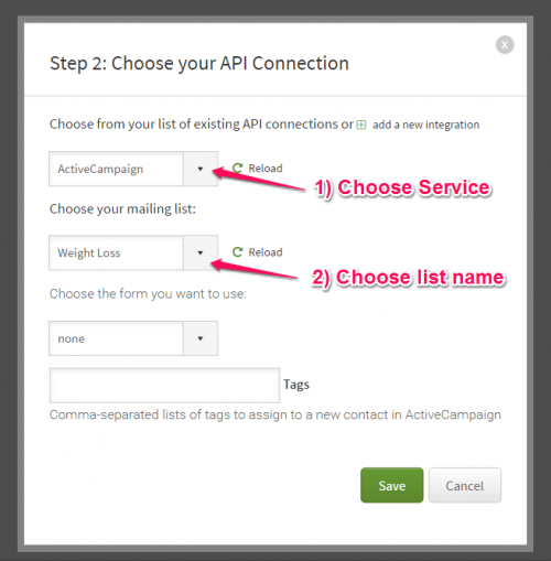 how to connect optin form with email list