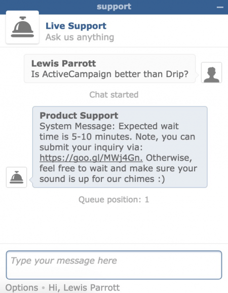 ActiveCampaign Live Support Chat