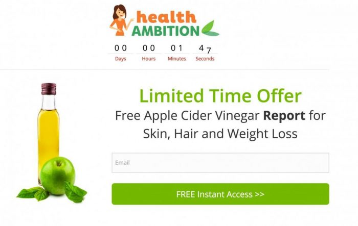 HealthAmbition apple cider vinegar opt in