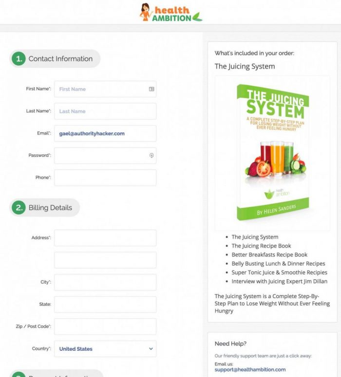 Health Ambition Checkout Page
