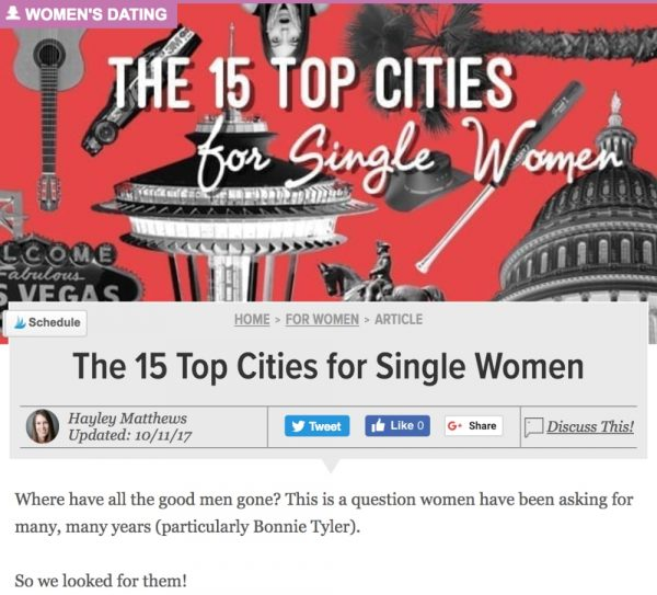 DatingAdvice The 15 Top Cities for Single Women