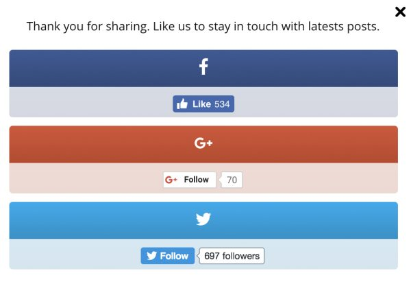 Easy Social Share Buttons Plugin After Share Actions