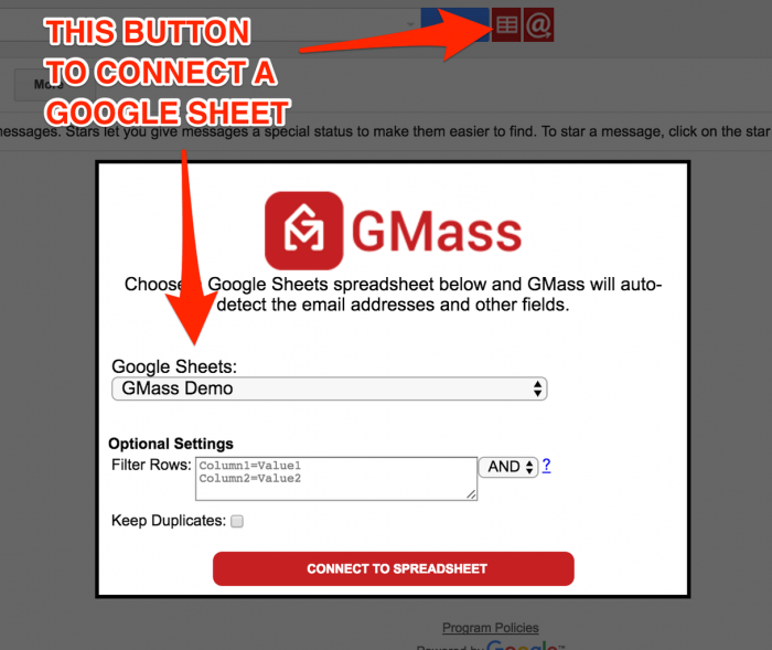 connecting Google sheet to Gmail