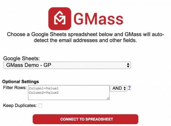 GMass Google Sheet connect
