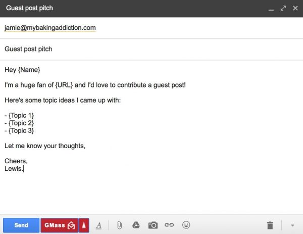 Guest post pitch email