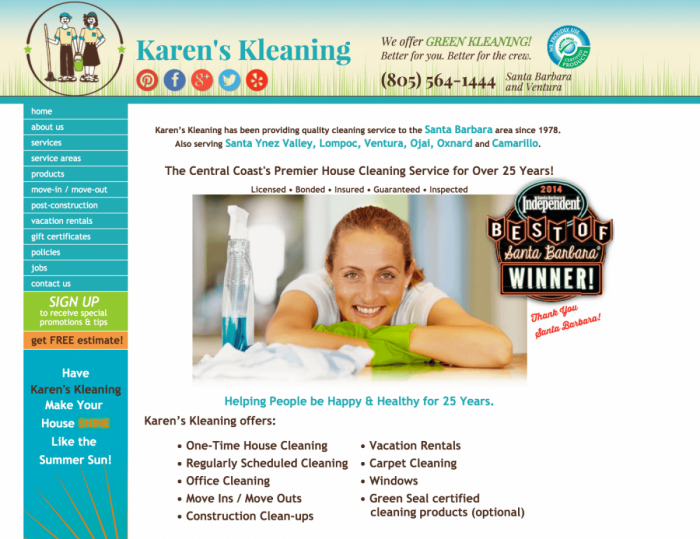 House Cleaning website