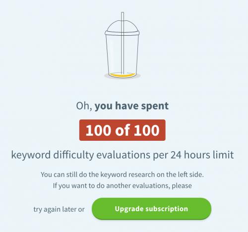 KWFinder request limitations
