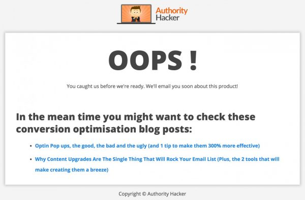 Oops page on Authority Hacker when testing product ideas.