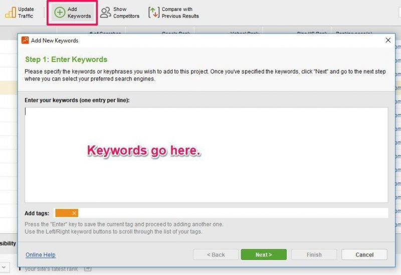 SEO Power Suite Keywords Adding