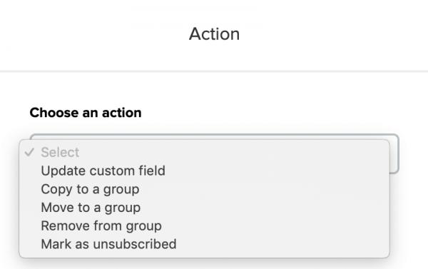 Action Options In Mailerlite
