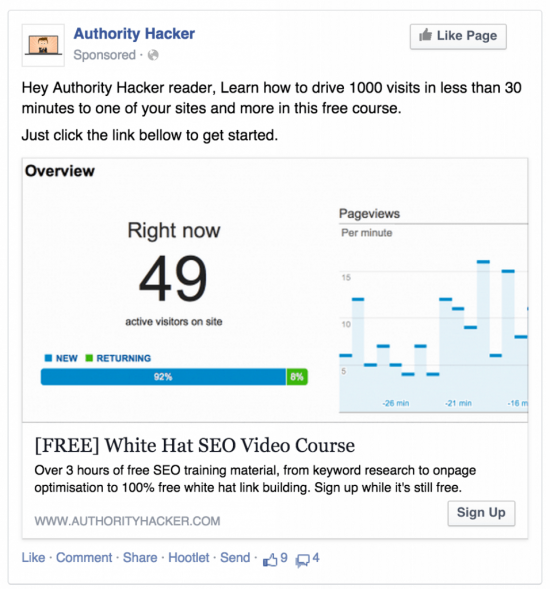 Authority Hacker Facebook Ad