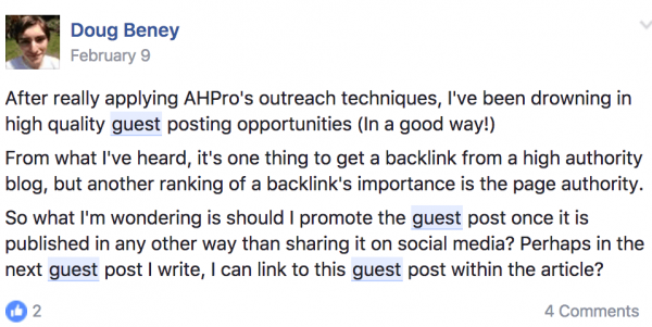 Doug Facebook Post