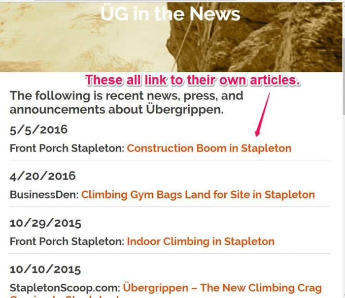 articles and press releases page