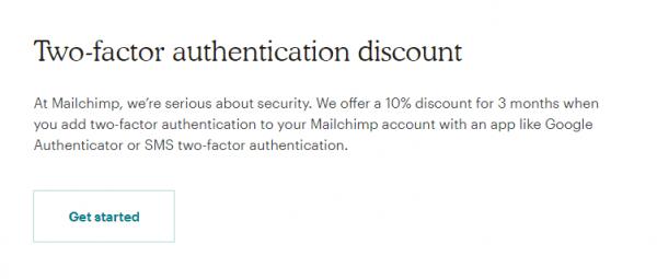 Mailchimp Two Factor Authentication Discount