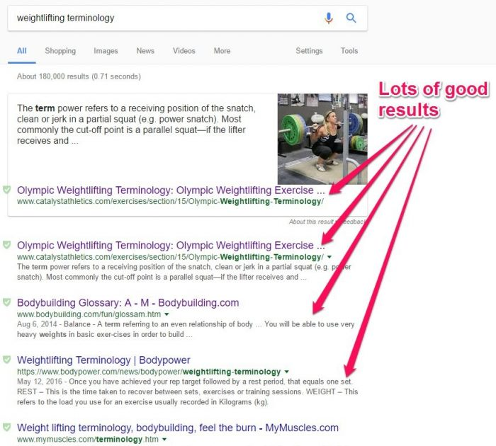 weightlifting terminology Google search