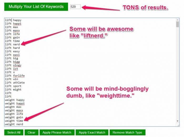 CleverClick keyword multiplier