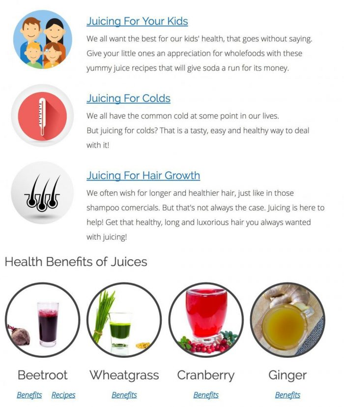 Health Ambition Juicing Page