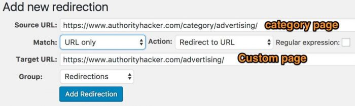 Redirection from a category page to a custom page