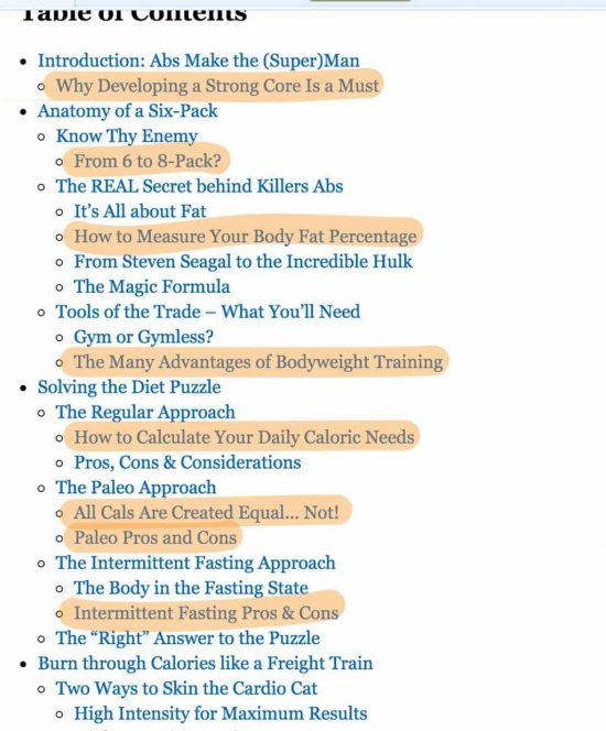 Amazon Book table of content